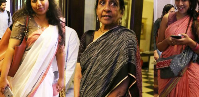 Netherfield Ball – Jaya Jaitly's Non-Journalistic Grey Sari  Royally Snubs the Journalistic Saris of Supriya Nair and Sonal Shah at The Caravan Magazine's Book Launch, Bikaner House