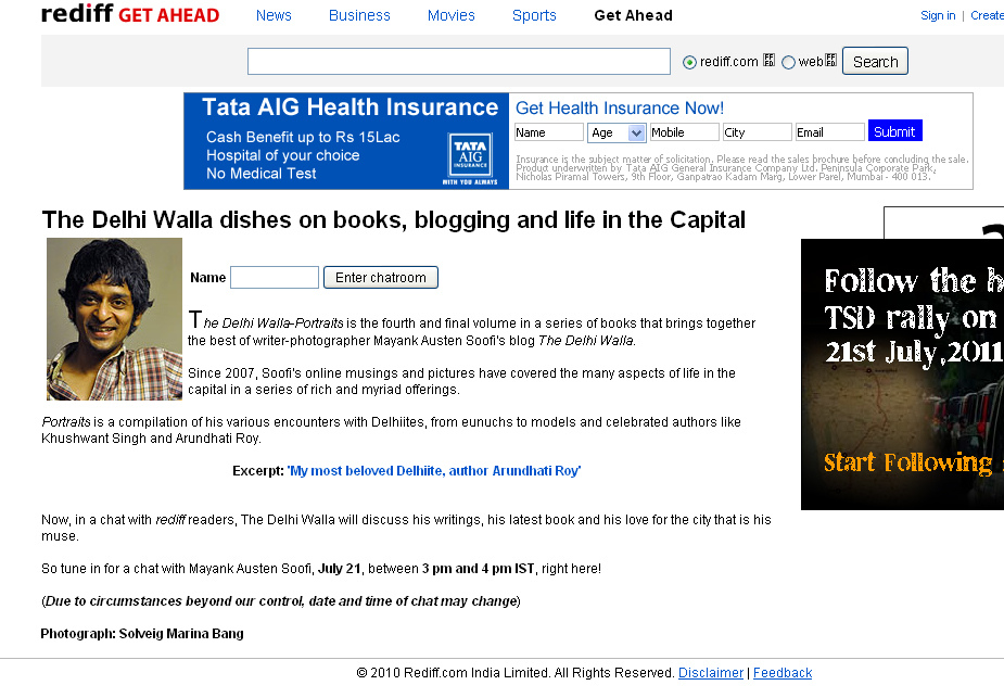 The Delhi Walla Books – An Online Chat with Rediff Readers