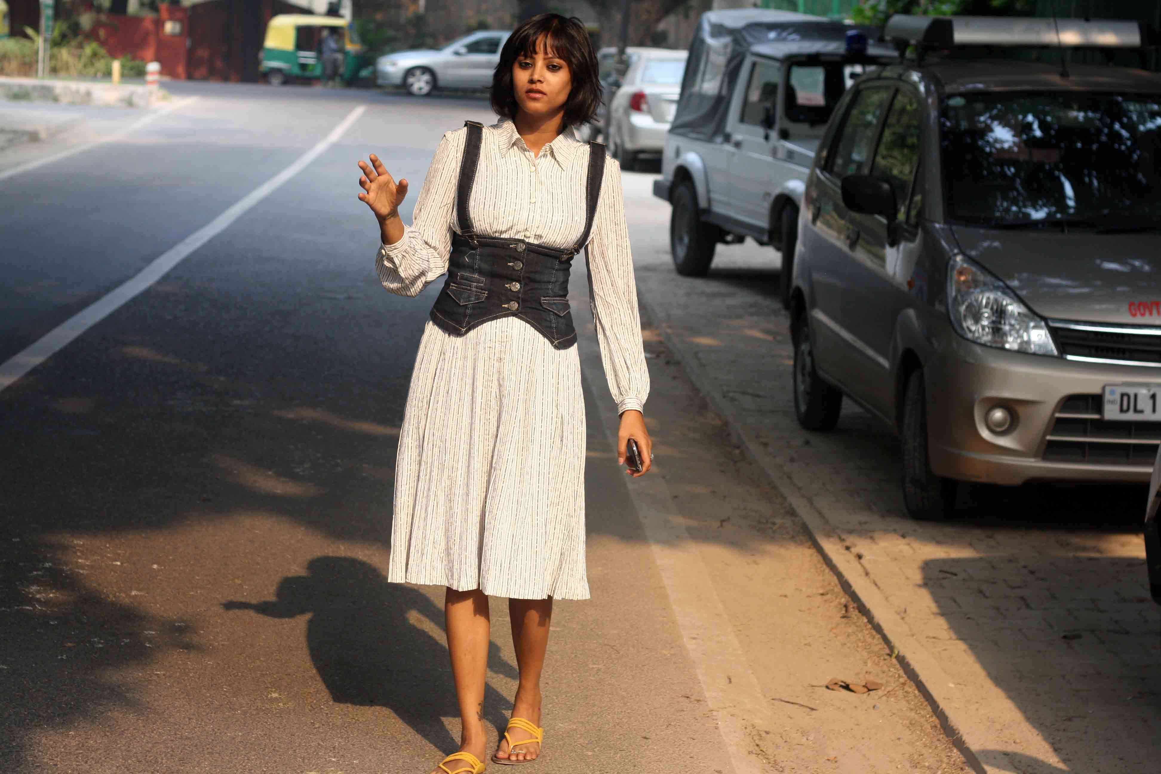 City Style - A Slender Woman in White, Harish Chander Mathur Lane